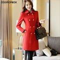 2017 Business Woman Woolen Coat Female Black Red Coat Double-Breasted Length Thick Womens Trench Plus Size Spring Autumn Winter