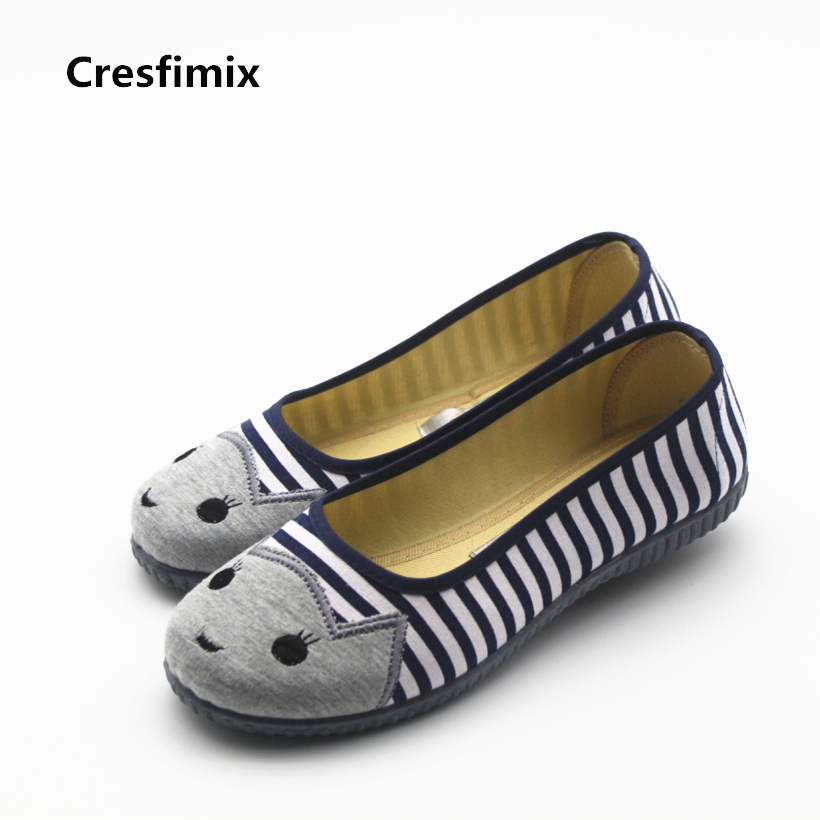 Cresfimix women cute spring and summer slip on flat shoes lady casual animal printed loafers female soft and comfortable shoes cresfimix women cute spring
