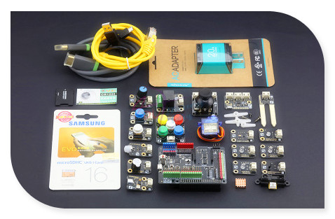 DFRobot Raspberry Pi Advanced Kit for Windows 10 IoT without Raspberry Pi 2 board, with Expansion Shield + different sensors etc