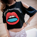 2016 Street Style Sexy Off Shoulder Short Sleeve White Cotton T-shirts Femme Loose Casual Mouse Printed T Shirts Women Crop Tops