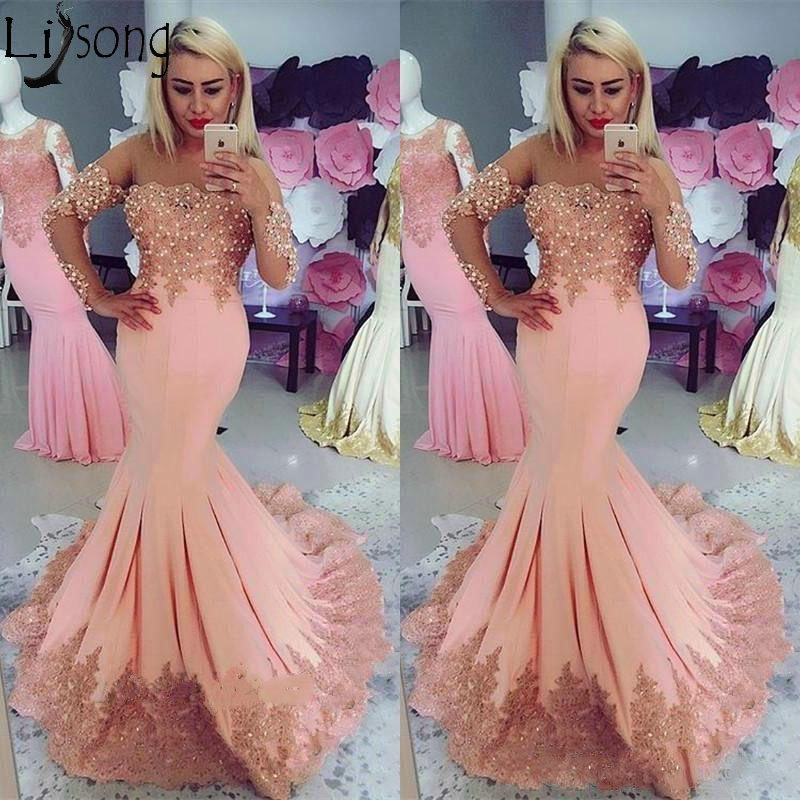 Elegant Peach Mermaid   Prom     Dresses   with Capped Long Sleeves Lace Appliques Beading See Through Neck Formal Wear Evening   Dress