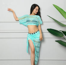 5f82e6bf15ad New Summer Women Oriental Dance Costume Classic Black Lace Belly Dance Show  Wear 2 Piece (Blouse Skirt) Black Purple Orange Blue