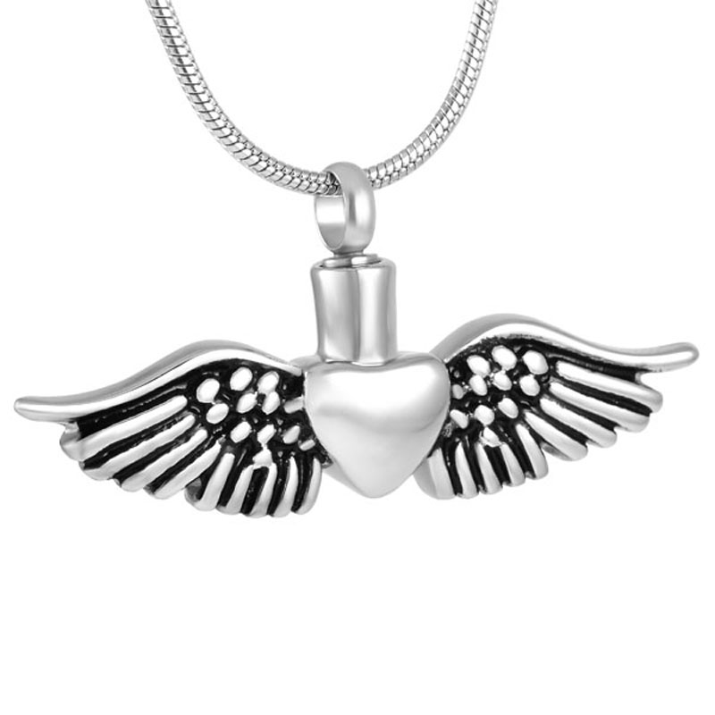 Angel Wing Urn Necklace: IJD8495 Angel Wing Heart Pendant Memorial Urn Necklace For