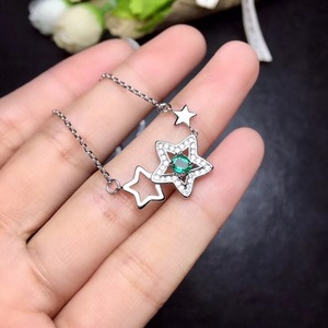 Image 5 - Natural emerald necklace, from the stars, 925 silver, especially beautiful, the price is suitable