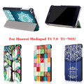 CY PU Кожи С Магнитной Красочный Чехол Для Huawei MediaPad T1 7.0 T1-701U Модель Стенд Case Тонкий Складной Tablet PC случаях