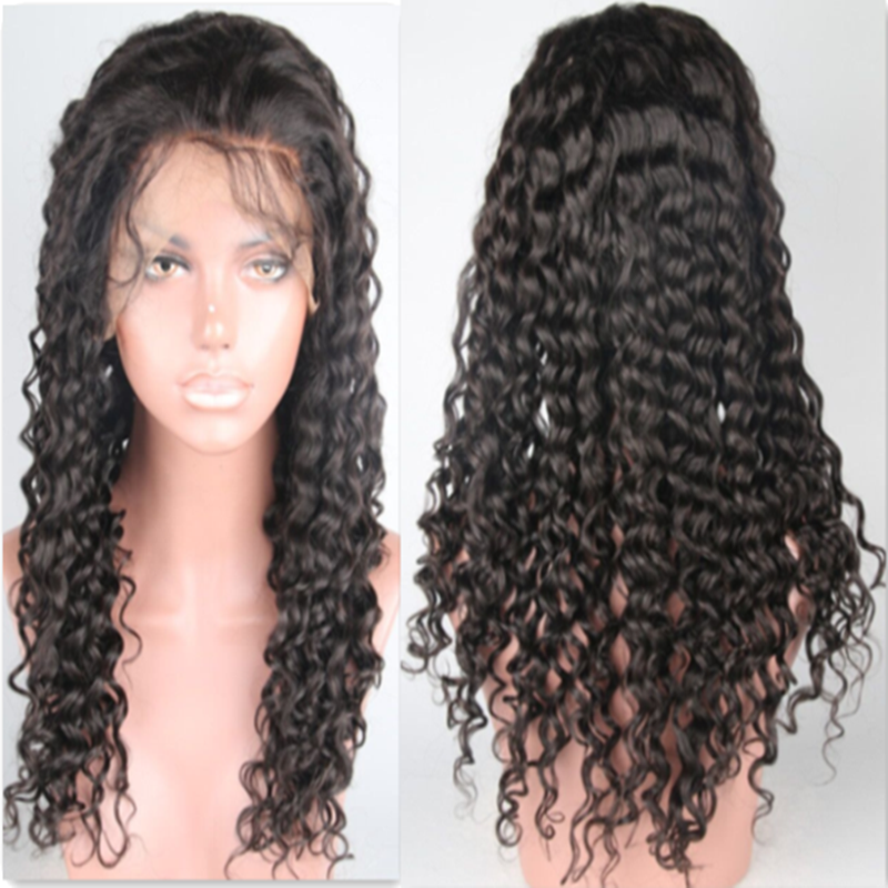 Deep wave glueless full lace wigs Brazilian virgin 130% density human hair lace front wig with natural black hair Curly wig