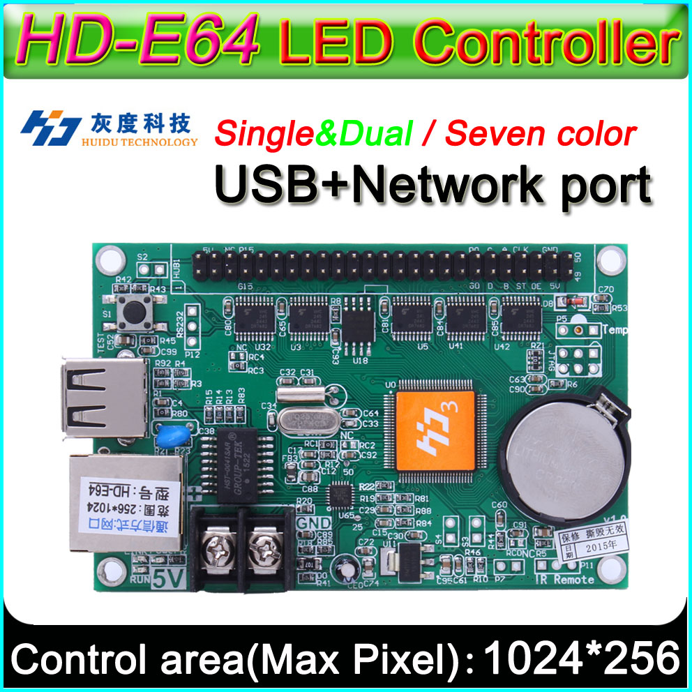 HD -E64 LED Display  Controller, Single&double Color P10 LED Sign Control Card,U-Disk And LAN Cable To Edit And Updated Programs