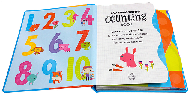 My Awesome Counting Book English board Books Baby kids math learning educational book with number shaped pages 3