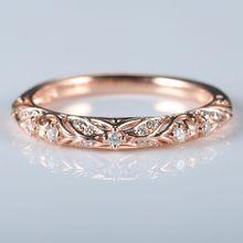 1eaccafb58a7 Art Deco sólido 10 K oro rosa natural diamantes mujeres anillo de compromiso  banda de boda