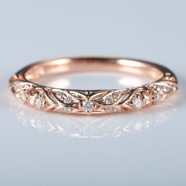 Art Deco Solid 10k Rose Gold Natural Diamonds Women Engagment Ring Wedding Band