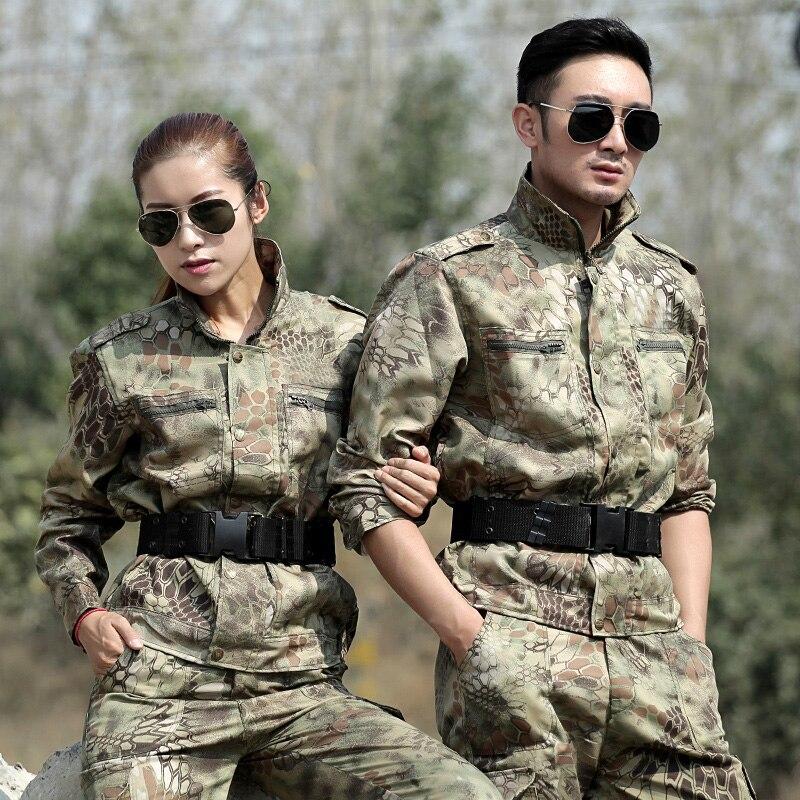 Python preto Caça Roupas De Pesca Dos Homens Caçador Tático Airsoft Uniforme de Combate Calças Camo Ghillie Suit Camuflagem Feminino Conjuntos
