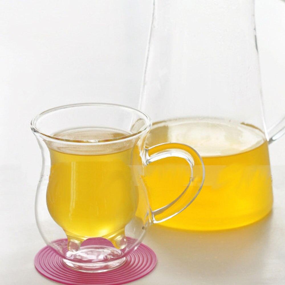 Double Wall Milk Glass Cups Cow Udder Shape Tea Cup Juice Water Coffee Mugs Handle Glasses Clear Wine Beer Jar Kitchen Drinkware