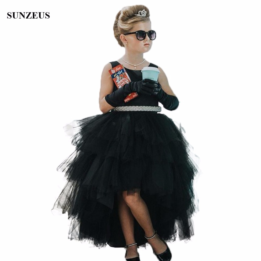 Black High Low Tulle   Girls     Dress   For Party And Wedding Short Front Long Back   Flower     Girl     Dress   With Belt FLG012