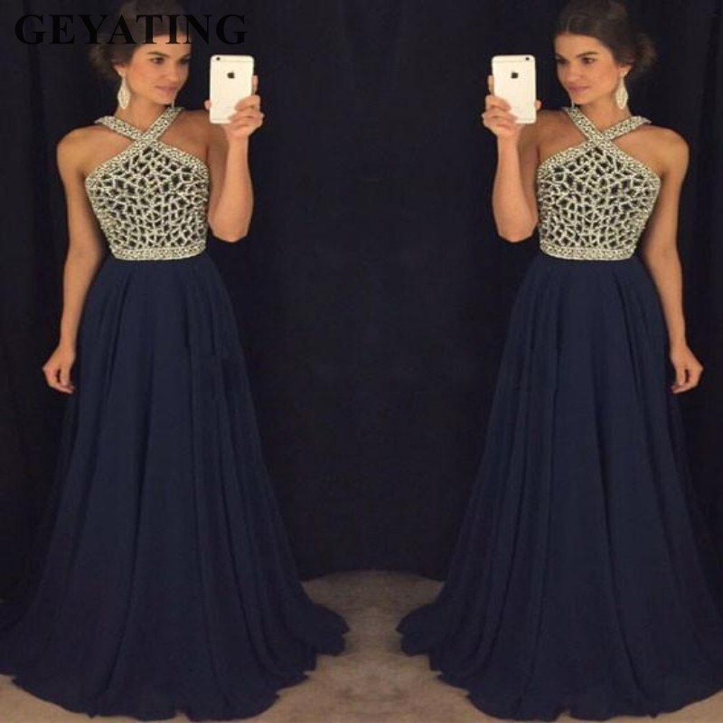 Sparkly Rhinestones Beaded Navy Blue Prom Dresses Long 2019 Elegant Halter Women Formal Party Gowns Off Shoulder Evening Dress