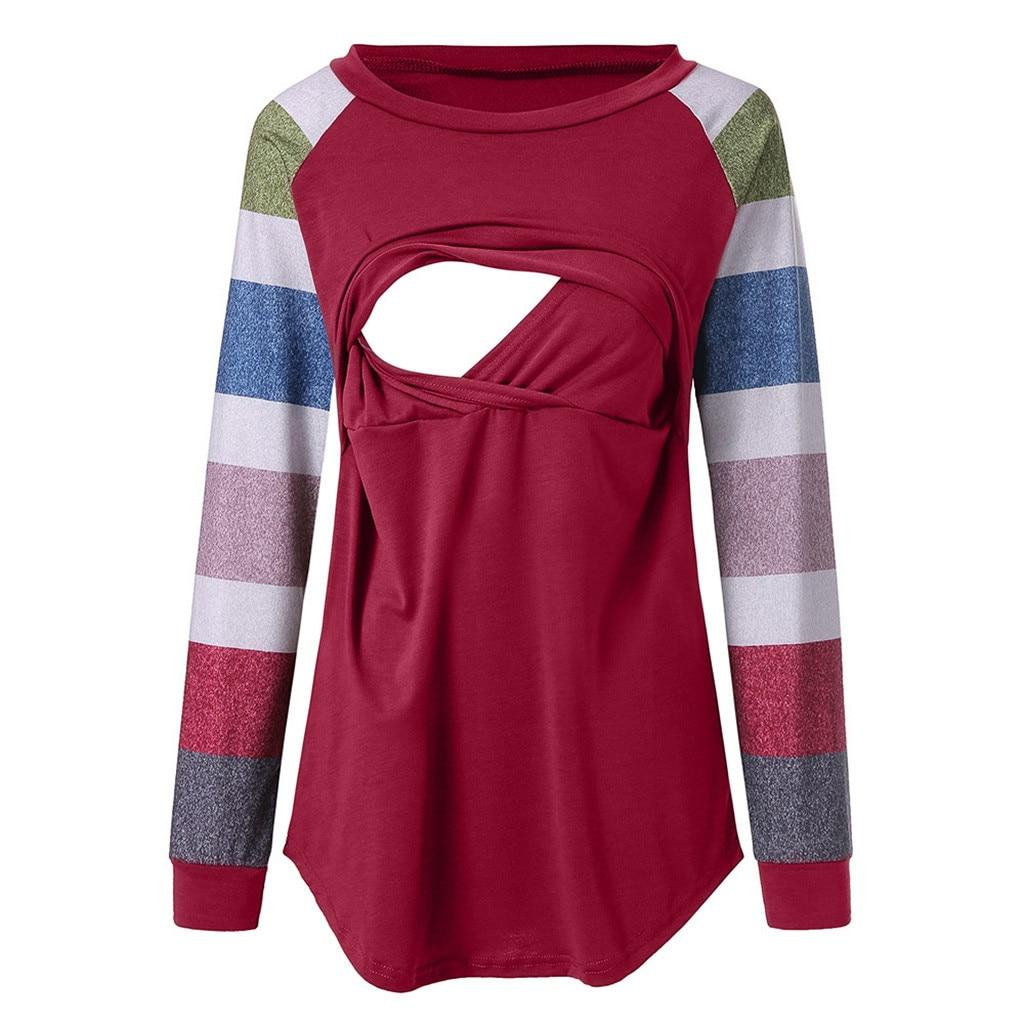 1535f4c429a9d ARLONEET Maternity pregnant cotton breastfeeding blouse maternity  Embarazada gown top Tees Shirt Long Sleeve Shirts g0509