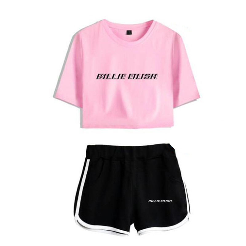 Summer Women's Sets KPOP Billie Eilish Short Sleeve Crop Top + Shorts Sweat Suits Women Tracksuits Two Piece Outfit Streetwear