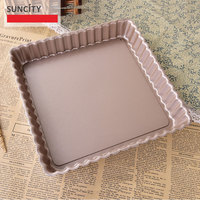 9 inch Metal Nonstick Cake Baking Pans Square Tortilla Biscuit Baking Fluted Pies Tart Dish Pizza Pan Removable Bottom Tray