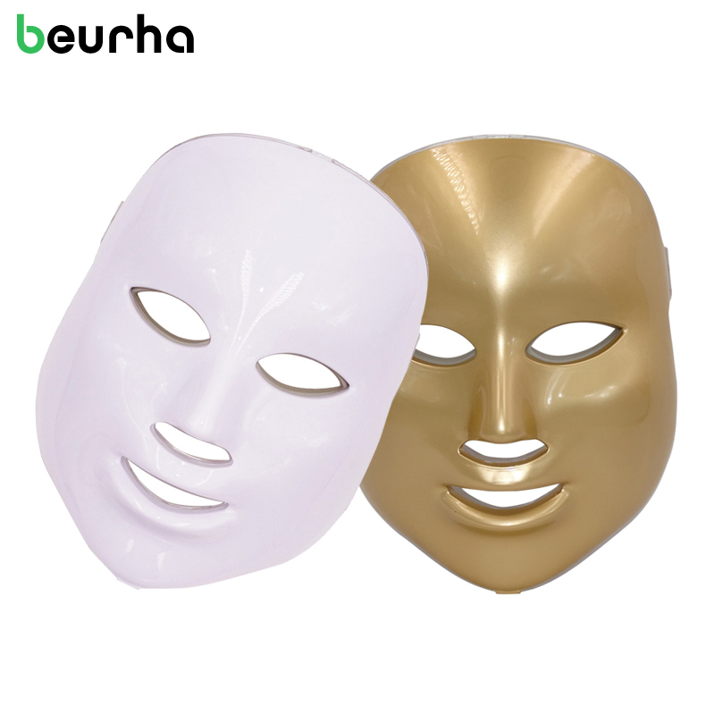 Beurha 7 Colors PDT Photon LED Facial Mask Wrinkle Acne Removal Face Skin Rejuvenation Facial Care Beauty Salon Light Therapy 7 colors light photon electric led facial neck mask skin pdt skin rejuvenation anti acne wrinkle removal therapy beauty salon
