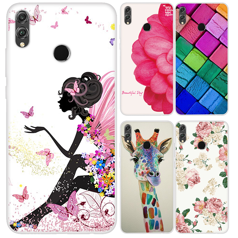 Case For Huawei <font><b>Honor</b></font> <font><b>8x</b></font> max Silicone Cover Cute Painted Soft TPU Coque Honor8x Global <font><b>64gb</b></font> 128gb JSN-L21 Protector Cases Funda image