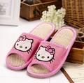 Nuevo hello kitty deslizadores del verano del resorte respirable cómodo lino casa indoor mujeres zapatos pasoataques marca