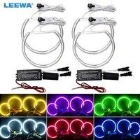 LEEWA 4X127.5MM Car CCFL Halo Rings Angel Eyes LED Headlights for BMW E39 OEM Angel Eyes DRL Light White/Blue/Green/Red #CA3298