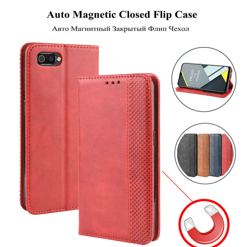 Oppo Realme C2 Wallet Leather Case Oppo A1K Magentic Closed Flip Cover for Oppo Realme C2 Retro Business Card Slots Phone Case