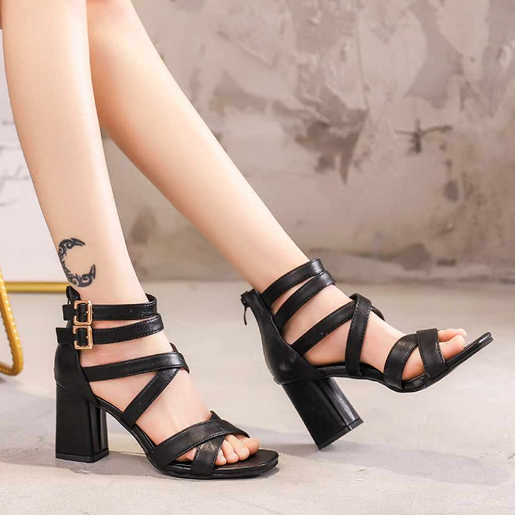 Fashion 2019 Summer Women's Sandals Thin High Heels Three layers of buckles Cover Heel Shallow Mature Black Dance Solid#N3