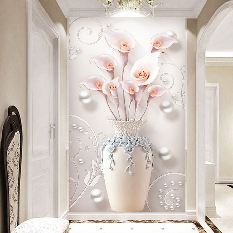 3D Wallpaper Modern Relief Flowers Vase Wall Mural European Style Living Room Entrance Background Wall Painting Papel De Parede