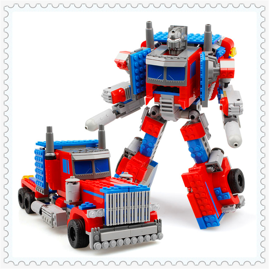 384Pcs Building Block Toys 2 In 1 Transformation Robot Truck KAZI 8023 DIY Figure Brinquedos Gift For Children Compatible Legoe 608pcs race truck car 2 in 1 transformable model building block sets decool 3360 diy toys compatible with 42041