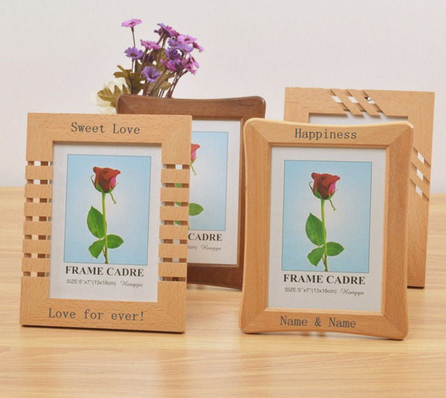 personalised engraved wooden photo frame wedding christmas gift wall decoration