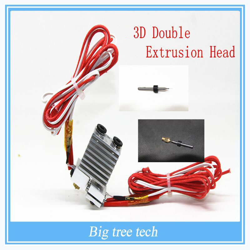 ФОТО 3d printer 3D extrusion head / V5 V6 double headed extruder nozzle / nozzle diy accessories & Nozzle Cleaning 0.5/0.4/0.3/0.2mm