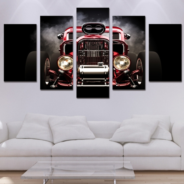 Modern HD Printed Poster Canvas Painting 5 Pieces Wall Art Hot Rod ...