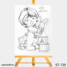 AZSG Lovely children Clear Stamps/Silicone Transparent Seals for DIY scrapbooking Card Making 6*9cm