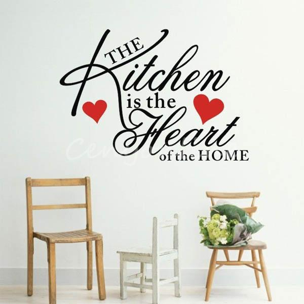 modern design removable quote kitchen heart home wall sticker