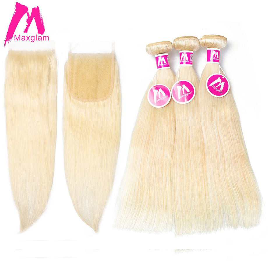 Maxglam Blonde Bundles With Closure Brazilian Straight 613 Blonde Human Hair Bundles with Closure Remy Hair