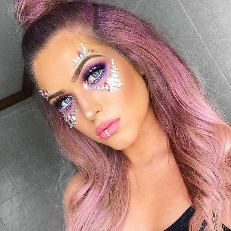 Diy Eyebrow Face Body Art Glitter Jewels Adhesive Music Party Eyeline Eye Face Tattoo Crystal Stickers Festival Gems Makeup Tool Aliexpress