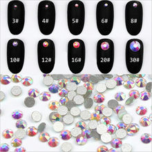 High Quality Nail Art Glass Rhinestones Round Nail Rhinestones Jewelry Craft Shiny Crystal Clear ab Flat Back Crystal Stones(China)