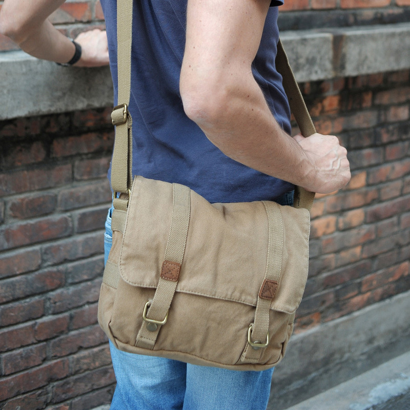купить Fashion Single Shoulder Bag Canvas Vintage Men women Solid String Messenger Bag Casual Travel Men Women Messenger Bags по цене 2231 рублей