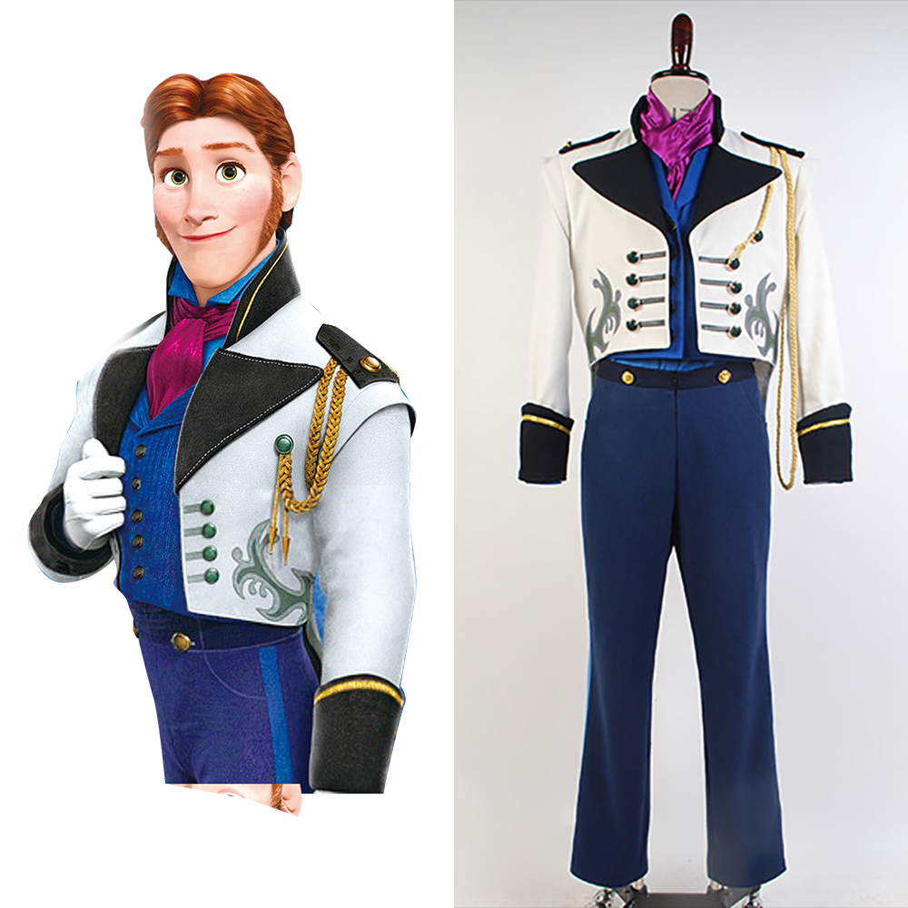 Cosplay Prince Hans Tail Coat Costume Suit Costume Full Sets Uniform Halloween Christmas Carnival Costume For Adult Men