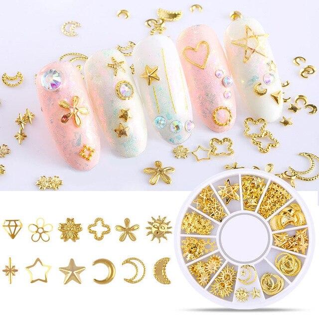 3D hueco decoración de uñas Metal formas mixtas puntas geométricas doradas DIY herramientas de decoración de uñas pegatinas de decoración de uñas