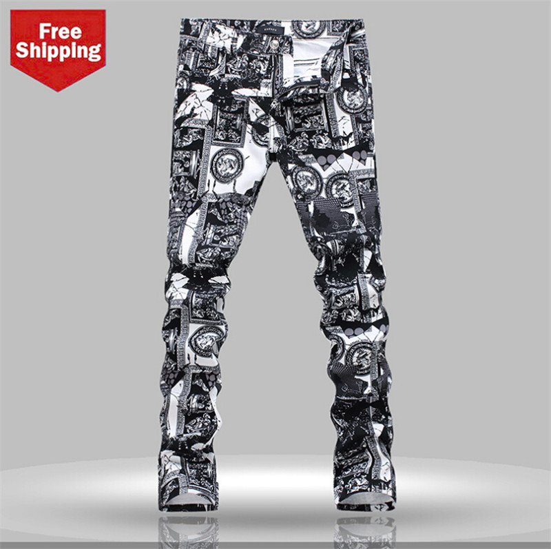 ФОТО 2014 new fashion Men's Jeans,Tide printed Jeans men,Hot sale,high quality men Jeans, big size jeans 28-40