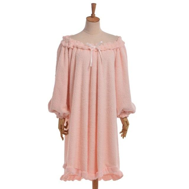 Mujeres Dulces de Lana de Color Rosa ropa de Dormir de Manga Larga Bata Homewear