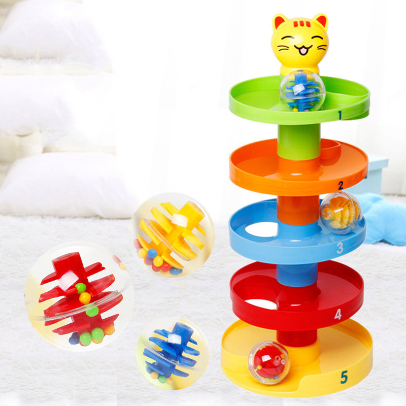 5 Layer Ball Drop Roll Swirling Tower for Baby Toddler Development Educational Toys YH-17