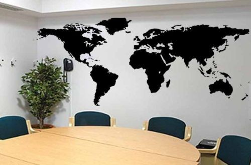 Fashion World Map Large Size Vinyl Wall Decal Map Of World Mural Art