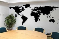 Fashion World Map Large Size Vinyl Wall Decal Map Of World Mural Art Office Wall Sticker Living Room Office Home Decoration