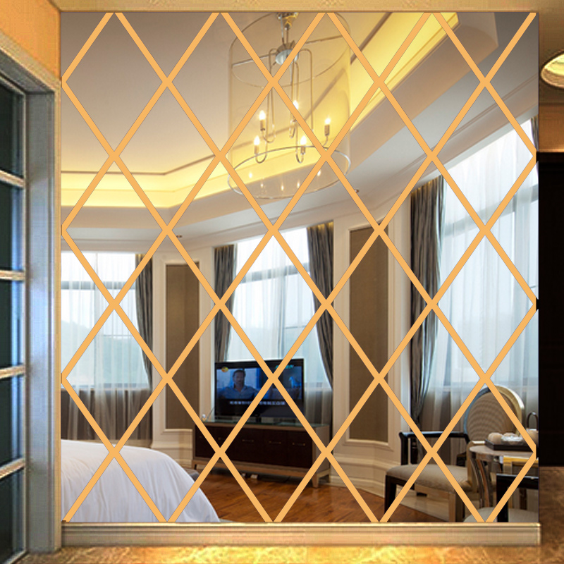 3D Diamond shaped mirror wallpaper paste wall acrylic background Living room backdrop wall ceiling restaurant Decorative mirror