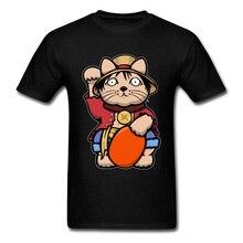 Lucky Cat T Shirt Men Luffy T-shirt Pirate One Piece Tshirt XS Mens Funny Tees King Luffy Black Tops Cotton Marvel Tshirts Retro цена и фото