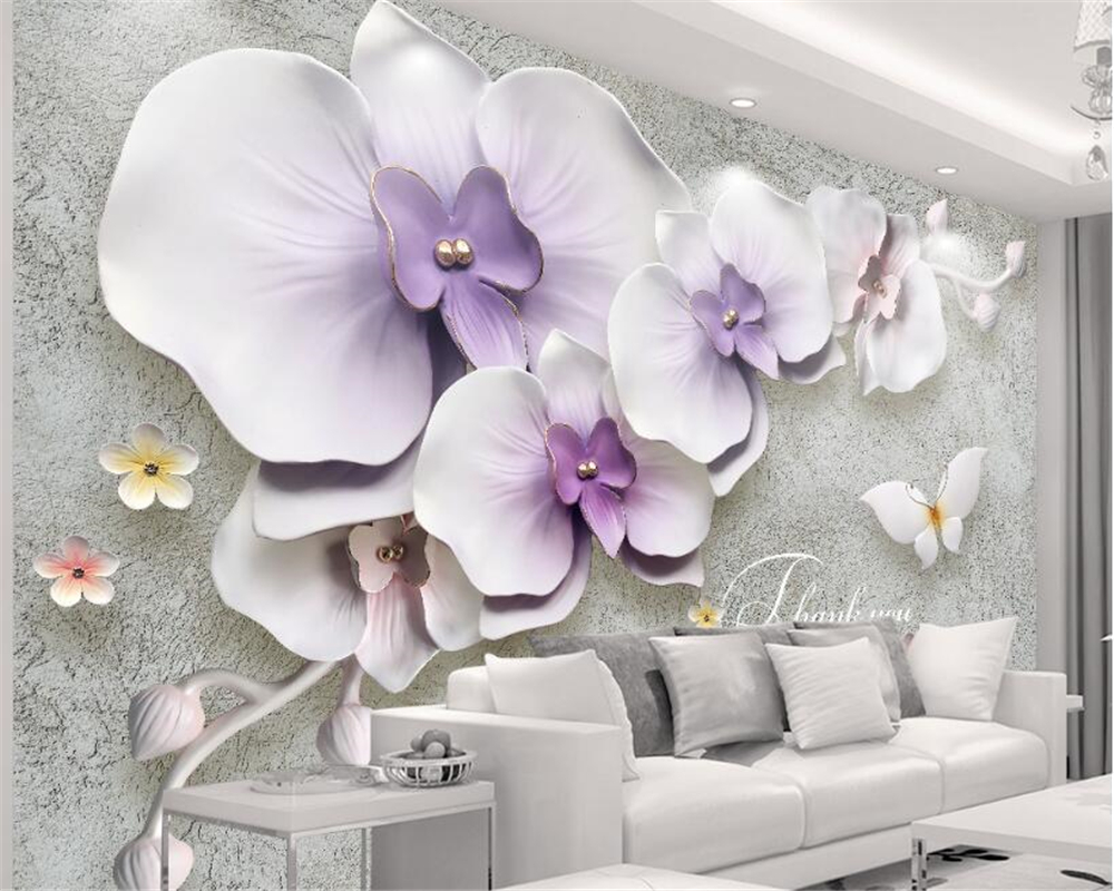 beibehang High quality retro fashion personality 3d wallpaper New Chinese relief three-dimensional phalaenopsis TV background