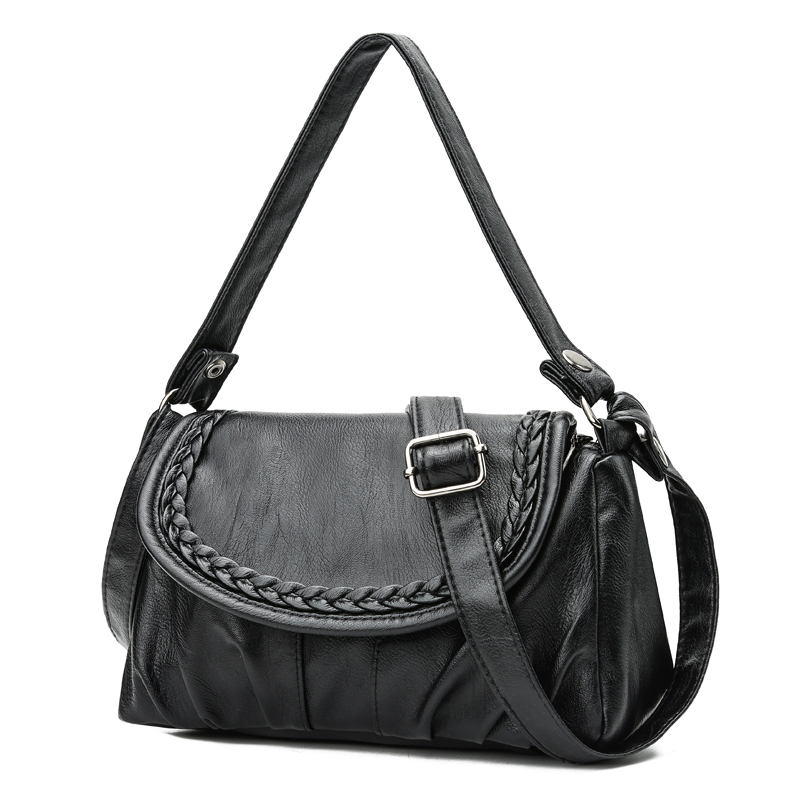 Vintage Soft PU Leather Women Shoulder Bags Black Women Handbags Small Casual Totes Crossbody Bag Ladies Messenger Bag Bolsos