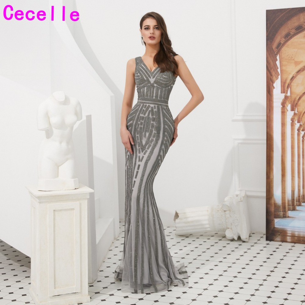 Grey Sequins Mermaid Long Luxury Evening Dresses 2019 Sleeveless Women Elegant Evening Party Gowns Social Occasion Dress